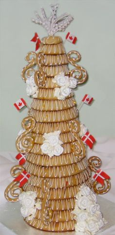 Kransekage - Traditional Danish New Year's Eve or wedding cake made of marzipan rings