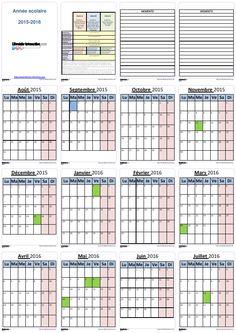 Un planning individuel pour l'année scolaire 2015-2016 (6 mois ou 12 mois par page) pour les élèves et les enseignants. Planning, Maths, Periodic Table, Crochet, Day Planners, Filing Cabinet, 6 Months, Computer Science