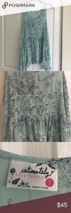 Free People Voile and Lace Trapeze Slip Dress Beautiful FP Slip in teal and navy floral pattern. Excellent condition, only worn twice! Open to offers. Free People Intimates & Sleepwear Chemises & Slips