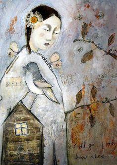 Fine Art Print by Mixed Media artist Misty Mawn birds and house Art Works, Art Painting, Art Projects, Female Art, Whimsical Art, Art, Collage Art, Portrait Art, Bird Art