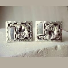 Vintage Sterling Silver CuffLinks Mexico Engraved Shadowbox 1940s  | AestheticsAndOldLace - Jewelry on ArtFire
