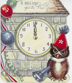 New Years Owl & Midnight Clock- Vintage Christmas Card-Greeting Vintage Happy New Year, Happy New Year Cards, New Year Greeting Cards, New Year Greetings, Vintage Greeting Cards, Vintage Christmas Cards, Vintage Holiday, Christmas Art, Vintage Postcards