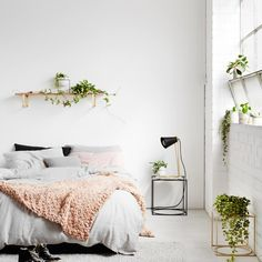 3 Exceptional Clever Ideas: Cozy Minimalist Home Minimalism minimalist bedroom cozy colour.Minimalist Bedroom Tips Interior Design minimalist bedroom blue colour.Minimalist Home Organization Clutter. Dream Bedroom, Home Decor Bedroom, Bedroom Plants, Modern Bedroom, Nature Bedroom, Bedroom Furniture, Light Bedroom, Furniture Plans, White Bedrooms