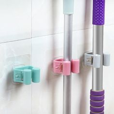 Wall Mounted Mop Holder Brush Broom Hanger Storage Rack Kitchen Organizer with Mounted Accessory Hanging Cleaning Tools 3 GHMY