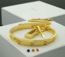 Seis generación estéreo taladro tornillo cambio de Color titanio circón Carter amor brazalete pulsera collar Set envío gratis(China (Mainland))