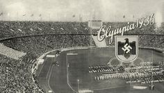 """""""Olympia 1936"""".  (Hoisting the flags in the Olympic Stadium. The coat of arms of…"""