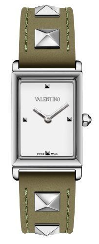 Valentino Women's V59SBQ9901S003 Rockstud Rectangular Green Leather Watch Valentino. $311.93. Water resistance to 30 meters(99 feet). White lacquired dial with 4 studed indexes. Stainless steel case. Swiss quartz movement. Green calf leather band with metal studs. additional black band without studs