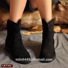 Top vente Artmu automne et hiver nubuck vache bottes simples, Artmu bottes étudiants occasionnels, Vache en cuir redand noir bottes pour fr dans Bottes pour femmes de Chaussures sur AliExpress.com | Alibaba Group