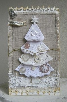 Burlap Christmas Card This would be beautiful in a frame setting on an end table at Christmas time. Homemade Christmas Cards, Burlap Christmas, Noel Christmas, Homemade Cards, Handmade Christmas, Christmas Decorations, Christmas Ornaments, Christmas Lunch, Country Christmas