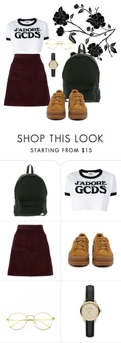 """""""I'm jittery"""" by lkaraleigh ❤ liked on Polyvore featuring Roxy, GCDS, A.P.C., Puma and Burberry"""
