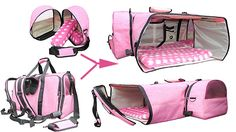 Backpack Pet Carrier expandable into a luxurious airline hotel for a 30 lb French Bull Dog flying first class from London to New York