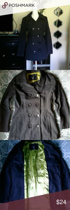 Rue 21 pea coat Women's very gently pre loved black rue 21 pea coat lined in lime green satin size medium. Small mark on left arm, please see pictures for more details. Thanks for looking!! Rue 21 Jackets & Coats Pea Coats
