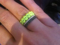 Neon Yellow Skulls Ring