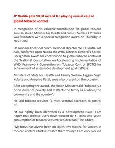 Jp nadda gets who award for playing crucial role in global tobacco control