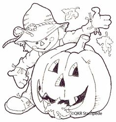 Scarecrow and Jack Digital Stamp Cute Halloween Coloring Pages, Thanksgiving Coloring Pages, Fall Coloring Pages, Printable Coloring Pages, Coloring Pages For Kids, Coloring Books, Moldes Halloween, Halloween Crafts, Insect Coloring Pages