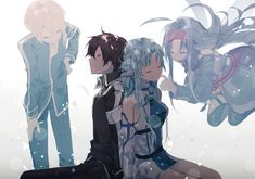 Eugeo, Kirito, Asuna and Yuuki - Sword art online Yuki, Anime Art, Pics, Kawaii, Online Art, Art, Sword Art Online Kirito, Anime Characters, Fan Art
