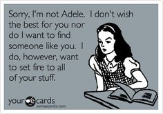Funny Breakup Ecard: Sorry, I'm not Adele. I don't wish the best for you nor do I want to find someone like you. I do, however, want to set fire to all of your stuff. ~This is too funny~ hahaaa Quotes To Live By, Me Quotes, Funny Quotes, Funny Memes, Sassy Quotes, Adele Quotes, Cheeky Quotes, Funny Ads, Short Quotes