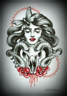 DEAD HEAD WITH BLEEDING SKULL tattoo flash by oldSkullLovebyMW.deviantart.com on @deviantART