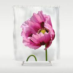 Papaver  - JUSTART © Shower Curtain by JUSTART  - $68.00  #justart #society6 #showercurtain #home #decor #shower #bathroom #papaver #flower #floral #white #pink #summer