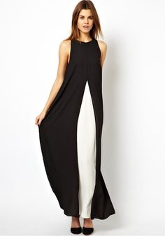 Black-White Patchwork Double-deck Sleeveless Chiffon Dress