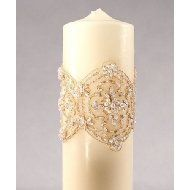 DIY Unity Candle: wrap a candle with ribbon to match your colors! Or lace to match your dress!