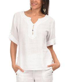 Look what I found on #zulily! White Ruffle Linen Button-Front Top - Women by Comptoir du Lin #zulilyfinds