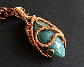 Chunky Blue Green Torpedo Copper Wire Wrapped Pendant Necklace