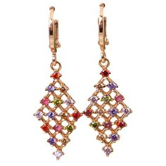 Find More Drop Earrings Information about New Statement Jewelry ,Top Quality 18K gold plated Multicolor Zircon earrings fashion jewelry E013 Free shipping,High Quality jewelry storage,China jewelry ice Suppliers, Cheap jewelry fantasy from Dana Jewelry Co., Ltd. on Aliexpress.com