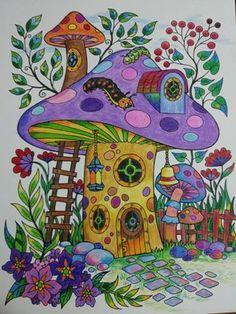 Blissful Scenes Illustrated By Hasby Mubarok ColorIt Blissful Scenes Colorist: Debra Dumitriu Mushroom Drawing, Mushroom Art, Trippy Drawings, Art Drawings, Hippie Painting, Guache, Hippie Art, Fairy Art, Psychedelic Art