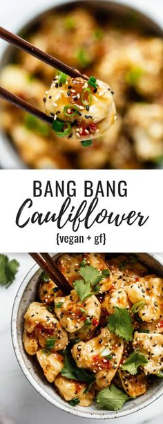 This bang bang cauliflower is baked to perfection for a healthy vegan recipe that is crispy and packs a punch! #bakedcauliflower #veganrecipes