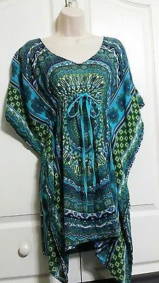 Raviya Swimsuit Cover Up Tunic Dress Size  Medium Turquoise Teal Green Tie Waist