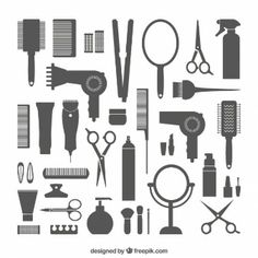 Hairdressing equipment icons by lovelogo on Logo Barbier, Hairdressing Equipment, Beauty Studio, Salon Design, Love Hair, Free Vector Art, Cosmetology, Hair Dryer, Barber Shop