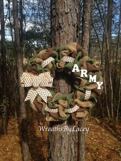 Camo Burlap Army Wreath Camouflage Wreath for by WreathsByLacey