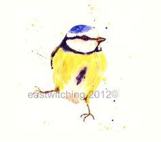 Bird Art, Ornithologist Gift, Blue Tit, British Bird Art, Watercolour Birds, cute bird illustrations