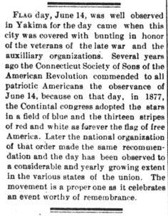 Flag Day, in The Yakima Herald of Yakima, Washington on June 15, 1893. | Victorian America Observes Flag Day | KristinHolt.com