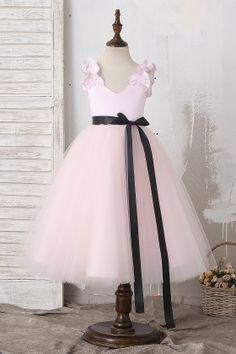 fe84e2d9d4fa2 Custom Made Light Pink Ruffled Straps Tea Length Flower Girl Dress with  Detachable Sash Flower Girls