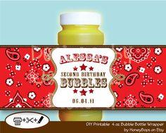 Bandana Bubble Wrapper Birthday Baby Shower - Cowboy Cowgirl Western Theme - Custom Printable - Digital PDF file. $6,95, via Etsy.