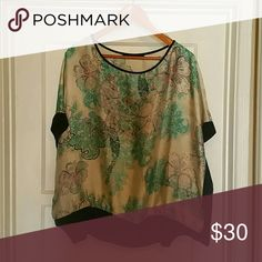 Blouse Silky cream with a light turquoise and pink pattern. Zac & Rachel Tops Blouses
