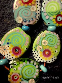 jasmin french snails on a trip lampwork by jasminfrench