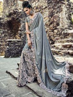 Glamorous Grey Saree