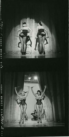 """Jane Russell and Marilyn Monroe on the set of """"Gentlemen Perfer Blondes"""". 1952"""