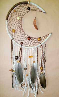 Crescent moon dreamcatcher, Native American shamanic dream catcher with amber and real electroformed feather on handmade willow hoop