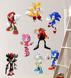 SONIC HEDGEHOG 8 CHARACTERS Decal Removable WALL STICKER Decor Art