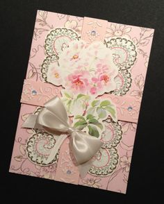 Old-Fashioned, Feminine, and Pink Floral  All Occasion Greeting Card with Anna Griffin Papers