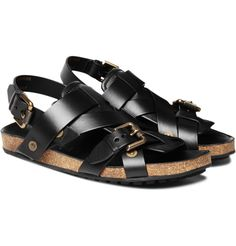 Burberry Prorsum Sandals: For men. With gold metal rivets and a thick cork sole. #Sandals #Men #Burberry