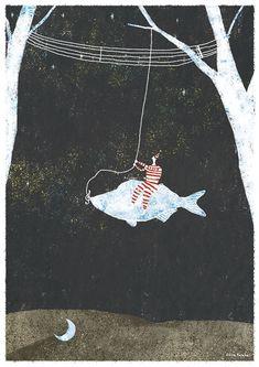 Night fishing by Akira Kusaka, via Behance Heart Illustration, Fish Art, Illustrations Posters, Design Elements, Illustrators, Art Drawings, Art Projects, Pastel, Sketches