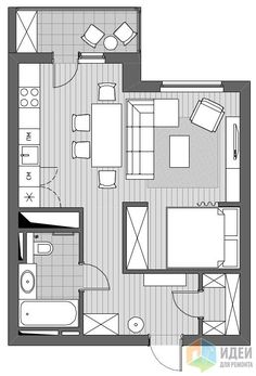 To start you off on the general side, you can look at something like these tips to get you started in moving in the right direction for the apartment interior Small Apartment Plans, Apartment Floor Plans, Apartment Layout, Small Apartments, Apartment Ideas, Small Spaces, Small House Plans, House Floor Plans, Appartement Design