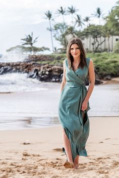 The Highlands Wrap Dress sewing pattern by Allie Olson is a woven, V-neck wrap dress with two lengths and a sleeveless option.