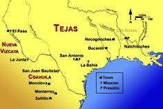 map of northeastern New Spain in the late 18th Century -  Spanish Texas