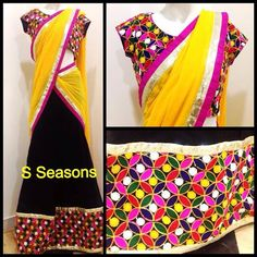 Half saree with a multicoloured blouse that can also be paired with most of your sarees